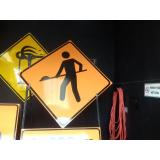 placas de sinalização de segurança em obras Vila Lucy